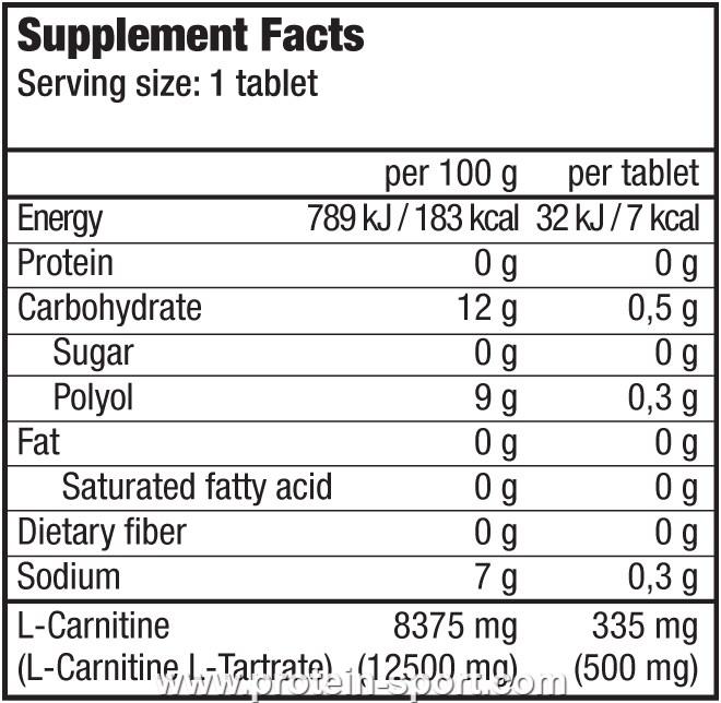 BioTech Effervescent L-Carnitine 500 mg 20 таблеток