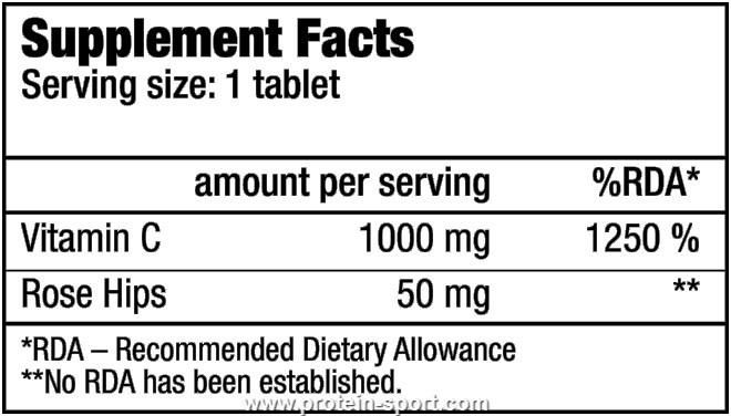 BioTech Vitamine C 1000 Rosehips tabs 100 таблеток