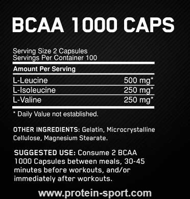 Optimum Nutrition BCAA 1000 caps 400 капсул