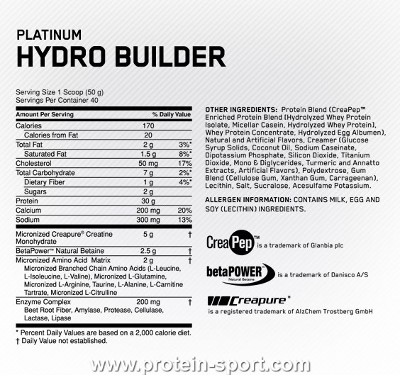 Optimum Nutrition Platinum Hydro Builder 2000 грамм