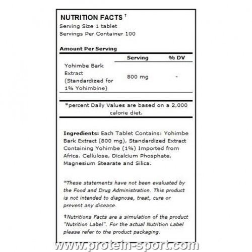 Повышение тестостерона Ultimate Nutrition Yohimbe Extract 800 mg 100 tabs