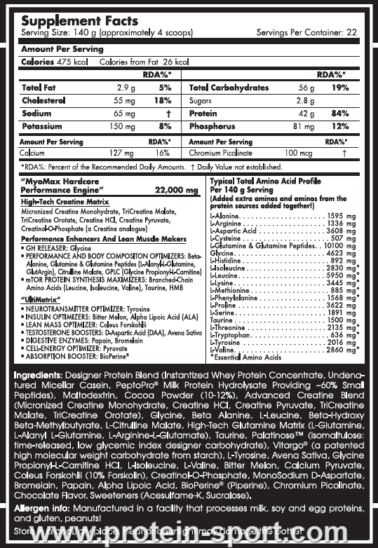 Scitec Nutrition Myo Max Hardcore 1400 грамм