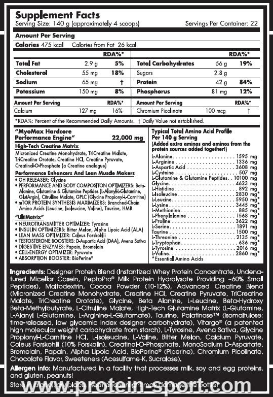 Scitec Nutrition Myo Max Hardcore 3080 грамм